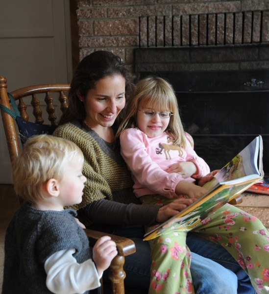 A Sonlight family reading together
